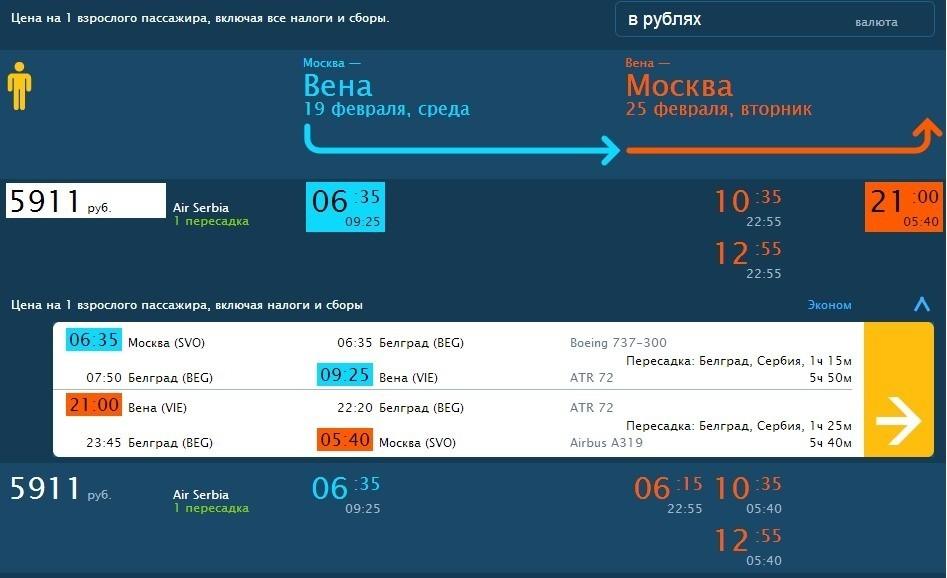Распродажа AirSerbia из Москвы в Европу, туда обратно от 119 евро