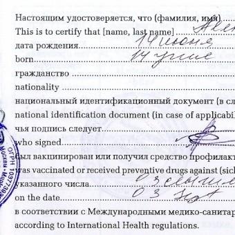 Прививки путешествующим по России